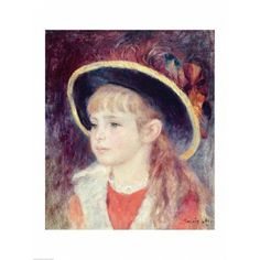 Portrait of a Young Girl in a Blue Hat 1881 Canvas Art - Pierre-Auguste Renoir (18 x 24)