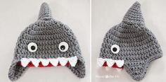 Cute crochet Shark hat pattern from Repeat Crafter Me Mode Crochet, Diy Crochet, Crochet Crafts, Crochet Hooks, Crochet Projects, Crochet Ideas, Crochet Top, Double Crochet, Crochet Winter