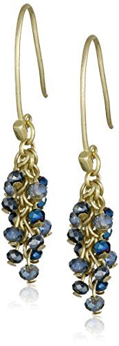 Kenneth Cole New York Shaky Blue Tonal Faceted Bead Long Drop Earrings ** Click image to review more details.