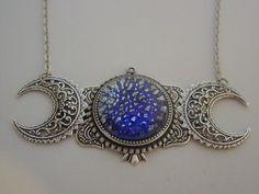 Triple Moon Goddess Art Nouveau Vintage Cobalt Blue Fire Opal Sterling Silver Oxidized Finish Necklace