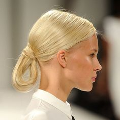 Sleek ponytails have popped up at shows like Derek Lam, but they were thrown for a loop at Carolina Herrera.