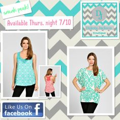 Tops available on the DAKOTA JACKSON BOUTIQUE Facebook pg. Thurs. 7/10 @ 8 PM EST. LIKE us on Facebook!