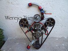 Werejo Trims Racing Heart Scrap Metal Sculpture