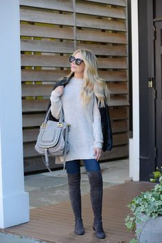 Love this look. Over the knee Stuart Weitzman boots with skinny jeans and a sweater.