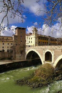 Island in the Tiber River, Rome, province of Rome Lazio, Italy