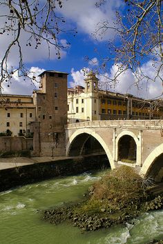 Island in the Tiber River, Rome, province of Rome Lazio, Italy