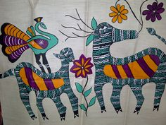 76x21 Cream Indian Tussar Silk Scarf Hand Painted Horse Peacock Goat Long Scarf (J14526). $27.99, via Etsy.