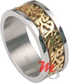 CELTIC Stainless Steel & Gold UNIQUE Mens Ring Sz 11 NR Bold Steel. $5.25. Save 71%!