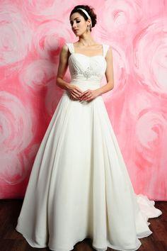 A Line Straps Chiffon Chapel Train Wedding Dress Wgh500686 Long Dresses