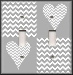 Switch Plate Cover - Chevron Heart White/Grey Home Decor/Nursery Decor #LunaGallerySwitchPlates