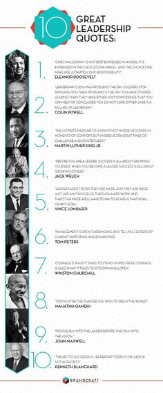 10 Great Leadership Quotes Can Make You A Great Leader?ref=pinp nn Great leaders come in all shapes and sizes, and they certainly aren't limited to a particular industry or to Fortune 500 companies. A great leader can be anyone from a politician to the owner of a small cafe. However, despite the vast differences in professions and backgrounds, there are...
