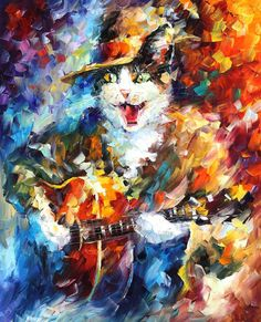 "Romantic Cat — PALETTE KNIFE1 Oil Painting On Canvas By Leonid Afremov - Size 24""x30"""