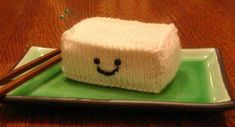 This free knitting pattern might get a few raised eyebrows, but the Tofu Pin Cushion is extremely fun to make. Not only is this pattern easy to put together, it's the perfect place to hold your pins! Knitting Patterns Free, Free Knitting, Free Pattern, Loom Knitting, Crochet Patterns, Crochet Pincushion, Easy Knit Hat, Best Auntie Ever, How To Press Tofu
