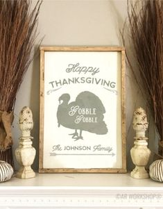 Ar workshop ankeny wine and painting wood sign studio and diy happy thanksgiving gobble gobble framed sign decor solutioingenieria Image collections