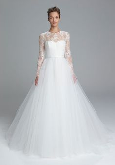 The new Amsale wedding dresses have arrived! Take a look at what the latest Amsale bridal collection has in store for newly engaged brides. Spring 2017 Wedding Dresses, Wedding Dress Trends, Modest Wedding Dresses, Tulle Wedding, Bridesmaid Dresses, Gown Wedding, Ivory Wedding, Bridal Gown Styles, Bridal Style