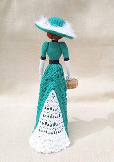 Amigurumi Crocheted doll Art doll Emerald lady gift idea