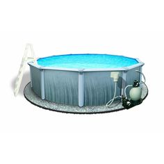 Martinique 24 ft. Round 52 in. Deep 7 in. Top Rail Metal Wall Swimming Pool Package, Gray