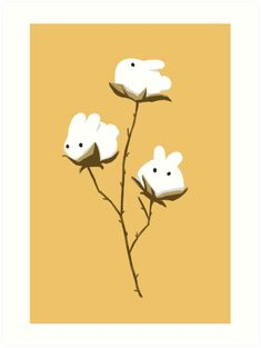 'Cotton bunnies' Art Print by casandrang Rabbit Drawing, Rabbit Art, Bunny Painting, Painting & Drawing, Pretty Art, Cute Art, Bunny Tattoos, Bunny Art, Cute Doodles