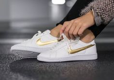 bd227b47174 White leather with gold Nike swoosh. Brand new with shoebox (w  no lid).