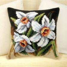 "Orchidea WHITE NARCISSI Chunky Cross Stitch Cushion Front Kit 16""  x16"""