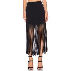 MONROW Fringe Maxi Skirt Skirts ($135) ❤ liked on Polyvore