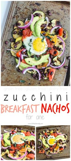 Zucchini Breakfast Nachos for One | C it Nutritionally Zucchini Breakfast Nachos are a delicious and nutritious way to start your day, filling you up with fiber, protein and more than one servings of veggies! Vegetarian, Gluten free, Grain free, Dairy free, Nut free, Peanut free