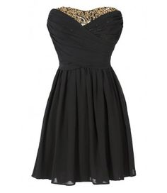 Dress To Impress Strapless Chiffon Dress in Black/Gold