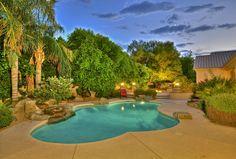 Beautiful tropical landscape and pool.  Scottsdale Arizona