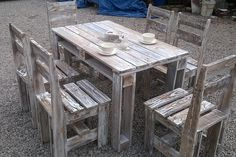 Ultra-Rustic Pallet Outdoor Dining Set - 125 Awesome DIY Pallet Furniture Ideas | 101 Pallet Ideas - Part 11