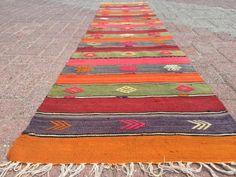Orange, Pink, Green and faded purple Vintage kilim runner, Turkish runner rug, Colorful stripped runner, Hallway runner rug, Anatolian rug