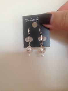 Silver And White Beaded Earrings perfect As by ScarlettSkyProducts
