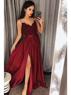 ac40df98d0 Affordable Prom Dresses Spaghetti Straps Long Lace V Neckline High Split Evening  Dresses