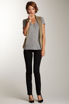 simple but a shirt tail cut on tee or pointed ends on vest to not highlight the widest part of the hip.