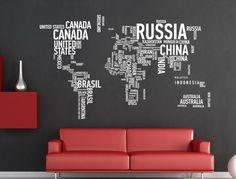 Words World map wall decor Vinyl - WallDecal
