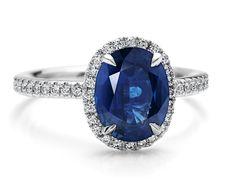 Sapphire and Micropavé Diamond Ring