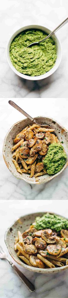 baked, cheese, fresh, healthy, mushroom, parmesan, pasta, pepper, pesto, recipes, spinach, walnut