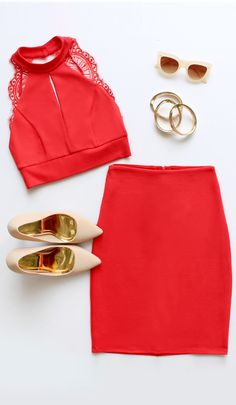 chic girly outfit idea including red two-piece dress, jewelry, sunglasses and nude heels Look Fashion, Fashion Outfits, Womens Fashion, Fashion Trends, Runway Fashion, Fashion Inspiration, Summer Outfits, Cute Outfits, Hipster Outfits