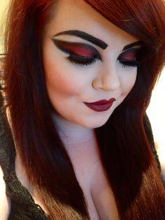 Vampire Halloween makeup.