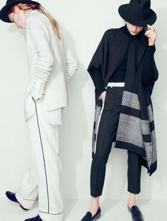 J.Crew Collection: Apiece Apart™ Katz stripe poncho and J.Crew pajama pant.