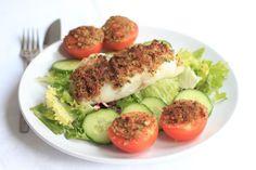 Grilled fish provencal. Lovely tender baked white fish fillets with a golden crunchy breadcrumb topping, sweet tasty tomatoes and a simple salad to accompany. This is a really nice weekend dish, accompanied with a glass of vino if you fancy!