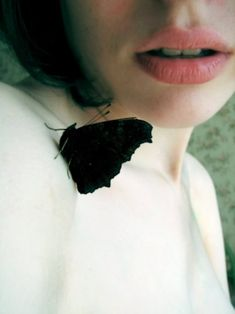 black moth, pink lips, dark bob | the love felt for people that don't bother killing harmless, visitor bugs