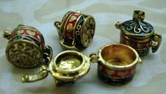 4 Prayer Pots Wish Pots 3D gold with red and black by MsPunkinelf, $16.99