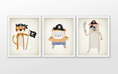 Pirate Animal Nursery Art Print Set Of 3  Pirate by QuantumPrints
