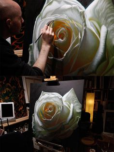 Artist Vincent Keeling working on his latest large scale white rose painting. Oct 15, 2015. www.vincentkeeling.com