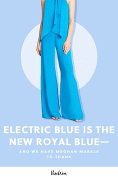 It's true: The royals are famous for wearing their signature royal blue. But Meghan Markle debuted a color riff of her own in London at the Endeavor Fund Awards. Meghan Markle Style, Engagement Dresses, Halston Heritage, Royal Fashion, Electric Blue, Dress Codes, Dress Making, My Outfit, Casual Looks
