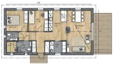 LATO 95 B - Kannustalo Small House Plans, My Dream Home, Future House, Sweet Home, Floor Plans, Windows, Flooring, How To Plan, House Ideas