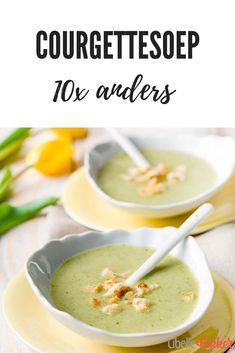 In de zomer, wanneer de courgettes allemaal tegelijk rijp zijn en je ze dus spotgoedkoop op de kop kunt tikken, staat er bij Libelle Lekker steevast courgettesoep op het menu. Hier zijn alvast wat recepten om uit te proberen. Soup Recipes, Chicken Recipes, Healthy Recipes, Lunch Restaurants, Pesto, Soup And Sandwich, Soups And Stews, Superfood, Food Inspiration
