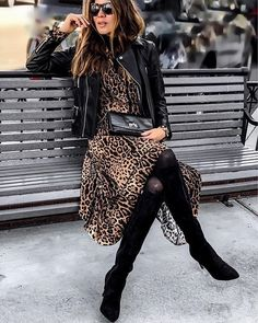 Black leather jacket over trendy and cute leopard print dress. Black leather jacket over trendy and cute leopard print dress. Mode Outfits, Stylish Outfits, Fall Outfits, Fashion Outfits, Womens Fashion, Fashion Trends, Dress Fashion, Fashion Tips, Look Fashion