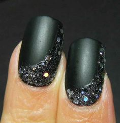 Matte black and silver nails