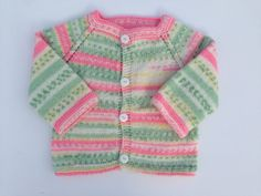 Hand Knitted Cardigan-Sweater Girl 0-3 Months Old by olinnell